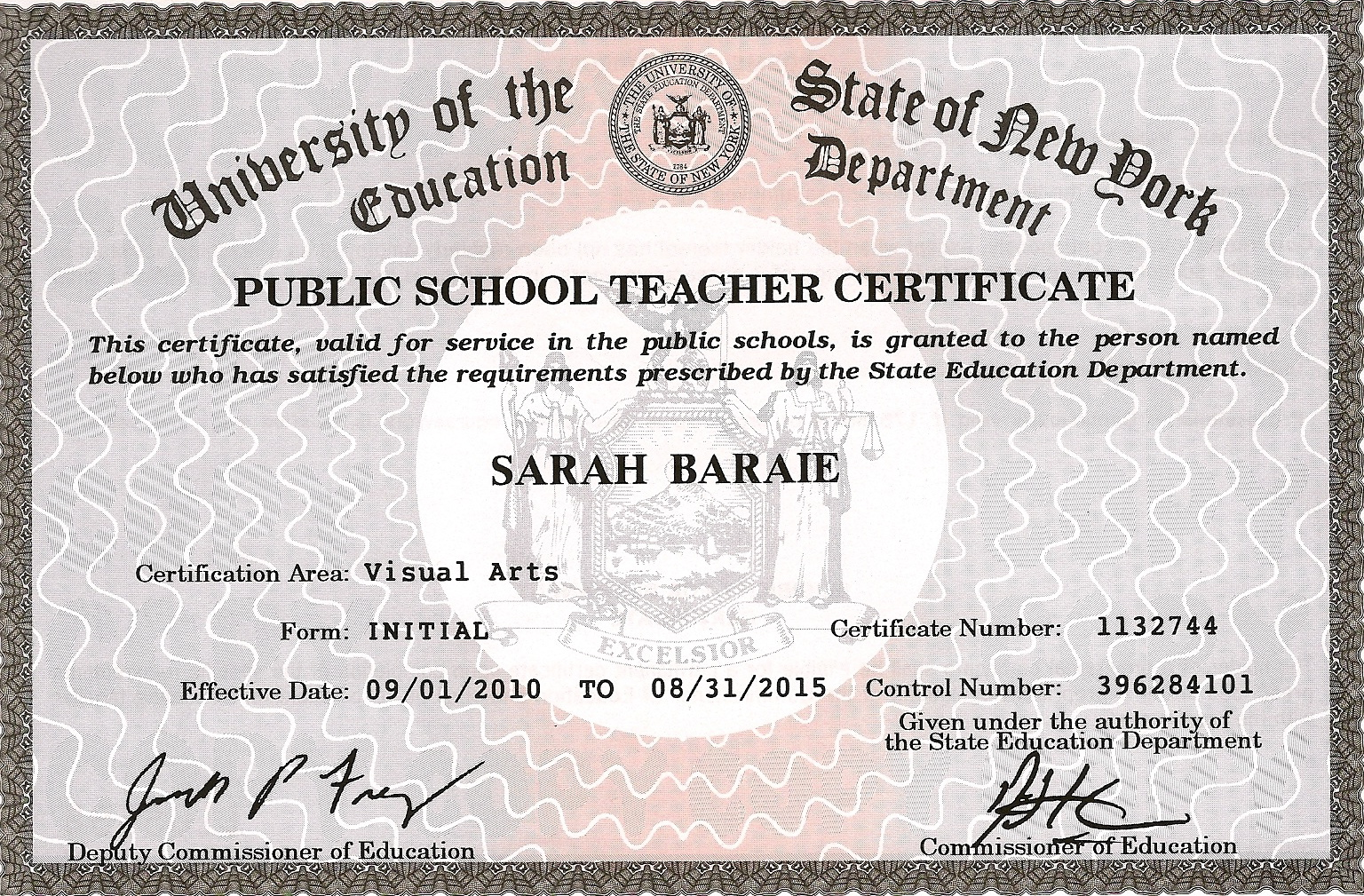Credentials sarah baraie post baccalaureate teaching certification art education k 12 buffalo state college 2009 1betcityfo Images